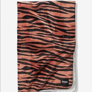 VS Pink Brandied Peach Zebra Soft Sherpa Blanket